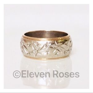 Jewelry - Solid Two Tone 14k Gold Wide Wedding Band Ring